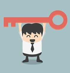 Businessman is holding a key of success vector