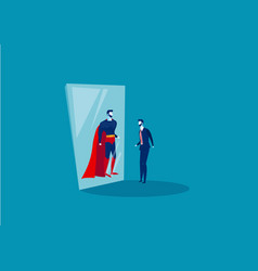 businessman looks in mirror with superhero vector image