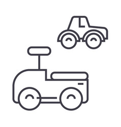 Cars toys line icon sign on vector