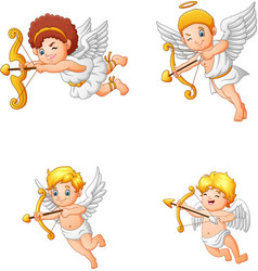 cartoon cupid angel collection set vector image