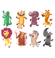 cartoon tropical african animal set vector image