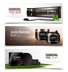 Charcoal cosmetics banners set vector