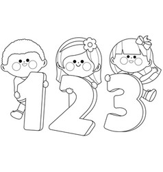 children holding numbers vector image