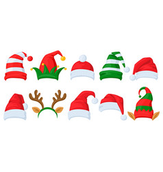 christmas celebration hats cartoon santa claus vector image