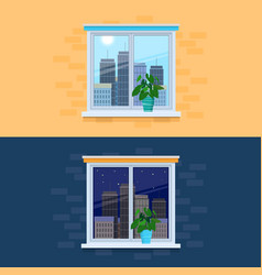 closed windows overlooking the vector image