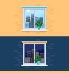 Closed windows overlooking vector
