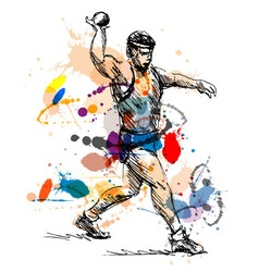 Colored hand sketch athlete ball thrower vector