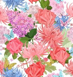 colorful seamless texture with summer flowers and vector image vector image