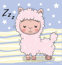 Cute cartoon sleeping alpaca on striped background vector
