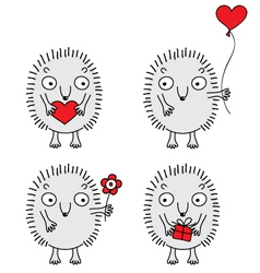 Cute hedgehogs set vector