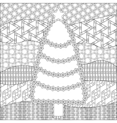 Decorative ornamental christmas tree with artistic vector
