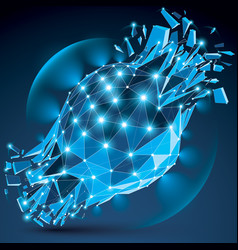 dimensional wireframe blue sparkling object with vector image