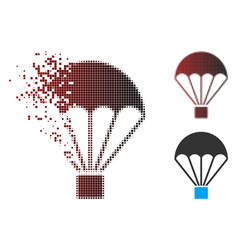 Disappearing pixel halftone parachute icon vector