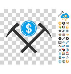 Dollar mining hammers icon with bonus vector