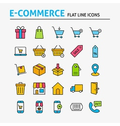 E-commerce Colorful Flat Line Icons Set vector