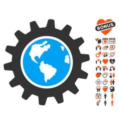 Earth engineering icon with love bonus vector