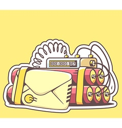 envelope with red dynamite on yellow back vector image
