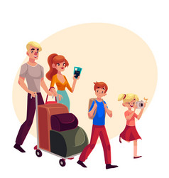 family of four pushing luggage cart at airport vector image