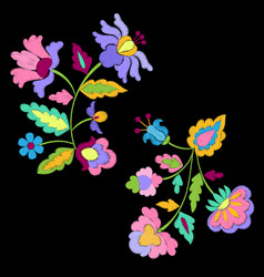 Fantasy flowers embroidery pattern set vector