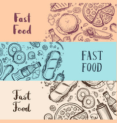 Fast food vintage advertising set vector