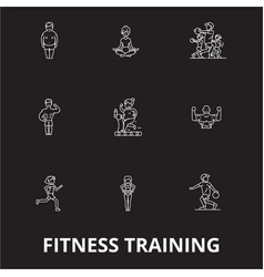 fitness training editable line icons set on vector image