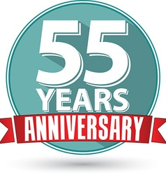 Flat design 55 years anniversary label with red vector image
