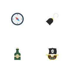 Flat icons vessel bottle direction and other vector