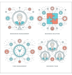 Flat line Management Team Building Success vector image