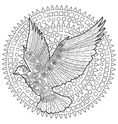 Flying dove with high details vector