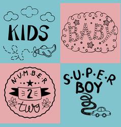Four kids logo handwriting baby kids super boy vector