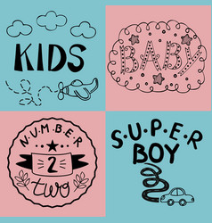 Four kids logo handwriting bakids super boy vector
