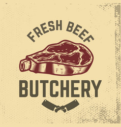 fresh beef butchery hand drawn raw meat on grunge vector image