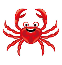 funny red crab icon vector image
