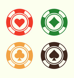 gambling poker chips set of design elements vector image