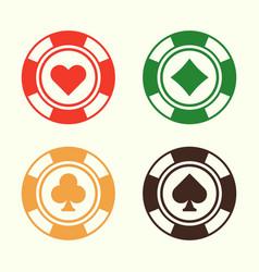 gambling poker chips set of design elements vector image