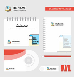 gdpr document on laptop logo calendar template cd vector image