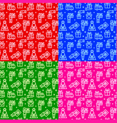 gifts seamless patterns vector image