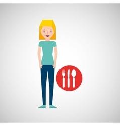 Girl cartoon traveler and restaurant icon design vector