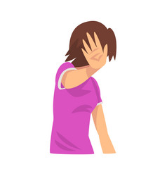 Girl covers her face with her hand hides cartoon vector