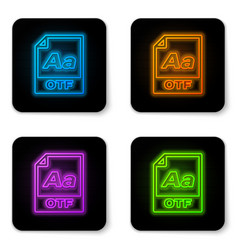 glowing neon otf file document icon download otf vector image
