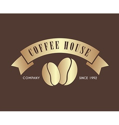 Gold Coffee logo with a ribbon for a cafe or shop vector