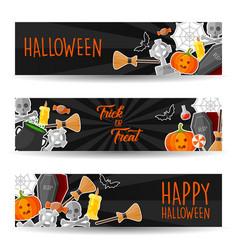 halloween horizontal banners with halloween symbol vector image
