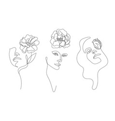 hand drawn linear art woman faces with vector image