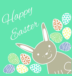 Happy easter card with rabbit and eggs vector