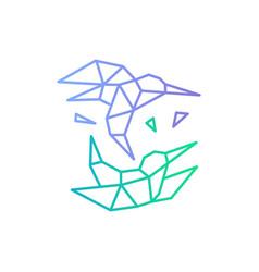 hummingbird colibri bird geometric shattered vector image