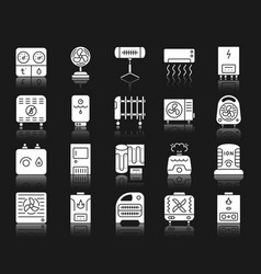 hvac white silhouette icons set vector image