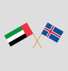Icelandic and uae flags vector