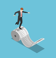 Isometric businessman balancing on roll of vector