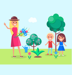 Kids gardening with their mother vector