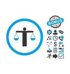 Lawyer Flat Icon with Bonus vector image